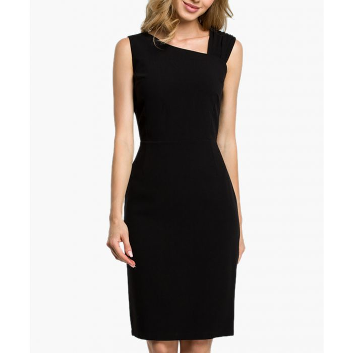 Image for Black asymmetric neckline fitted dress