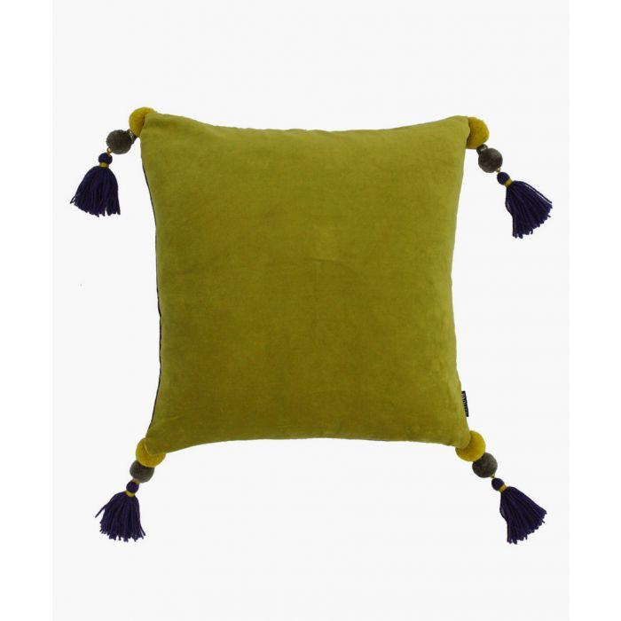 Image for Poonam green tassel cushion
