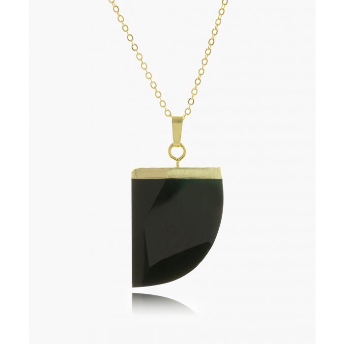 Image for 14k gold-plated and black obsidian necklace