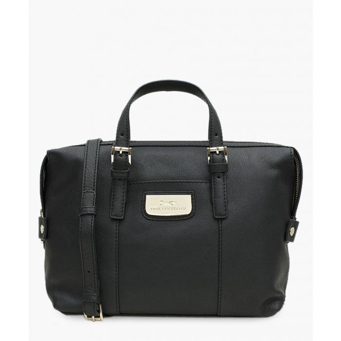 Image for Tulip black leather shopper