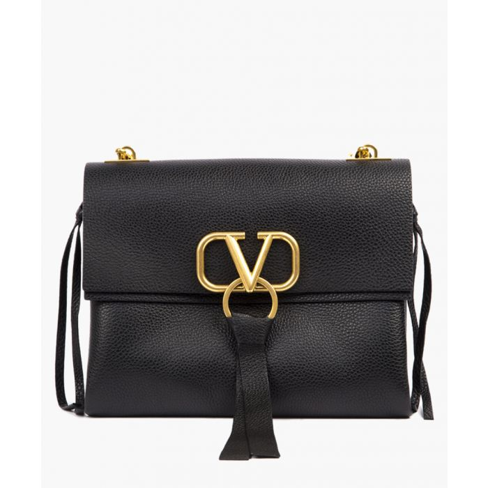 Image for Black embossed leather V ring shoulder bag