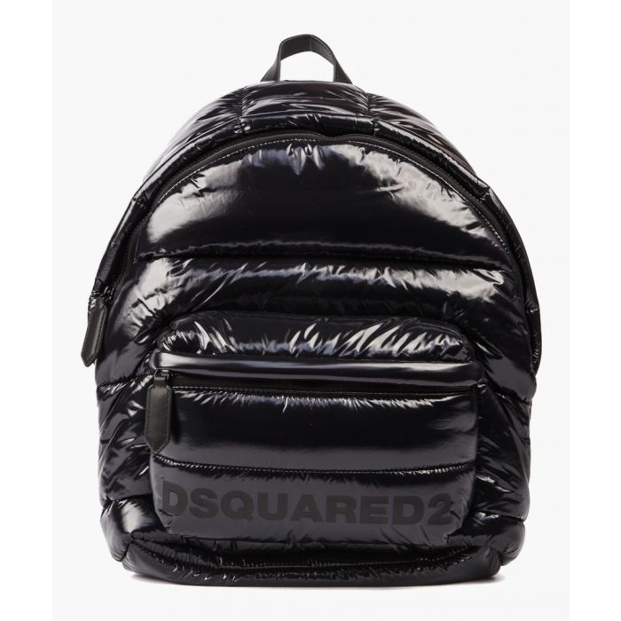 Image for Black glossy-effect quilted backpack