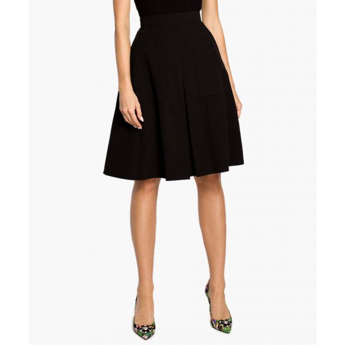 Image for Black pleated knee-length skirt
