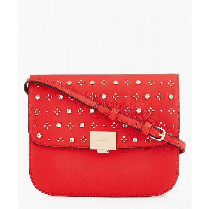Image for Red embellished fold-over crossbody