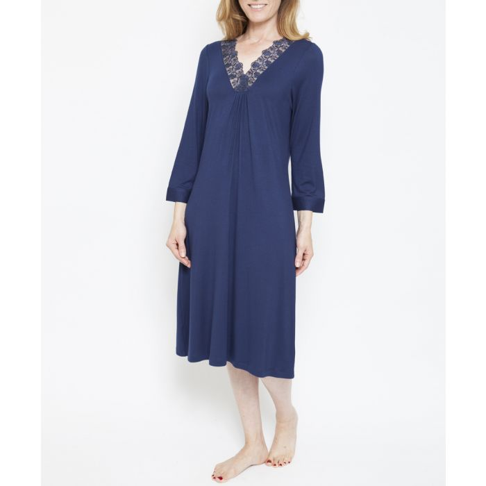 Image for Adele navy lace trim night shirt