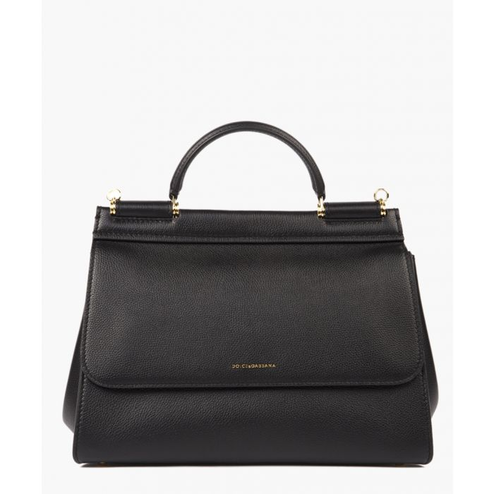 Image for Sicily soft black leather medium tote