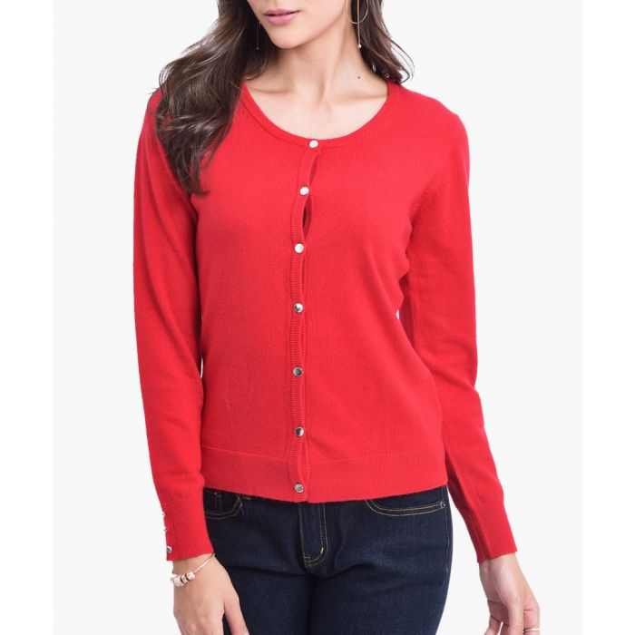 Image for Red cashmere blend cardigan