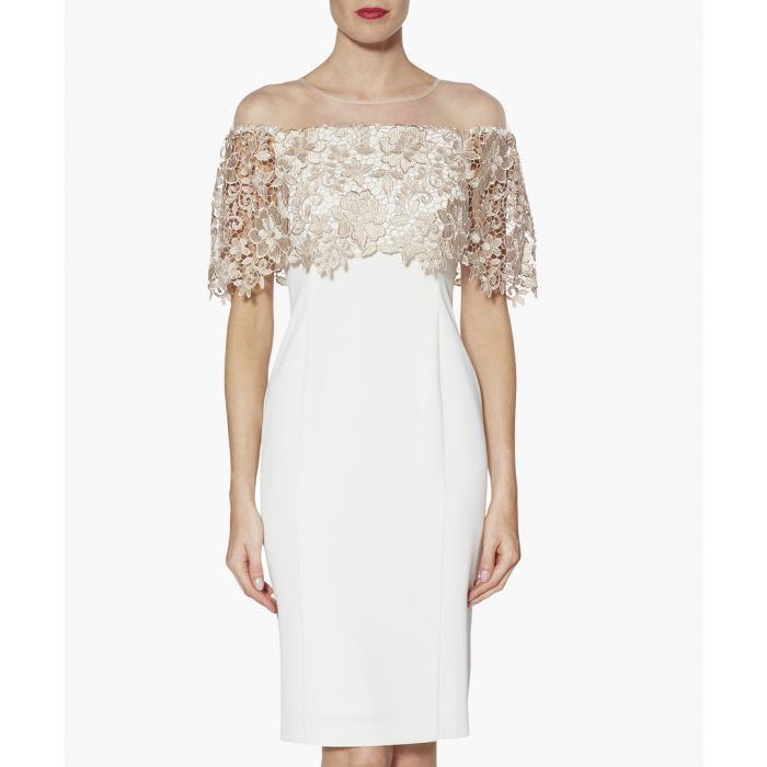 Image for Almond manuela embroidered bodice dress
