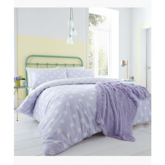 Image for Polka dot lilac cotton blend single duvet set