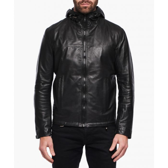 Image for Kaiko black leather and fur jacket