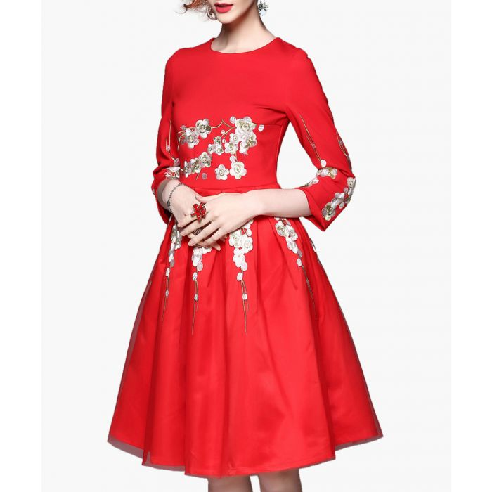 Image for Red cotton blend metallic detail dress