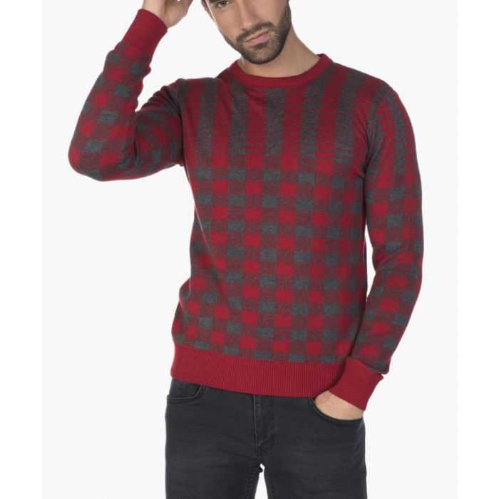 Image for Bordeaux and grey grid printed jumper