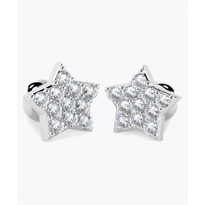 Image for 18k white gold and 0.25ct mini diamond star stud earrings