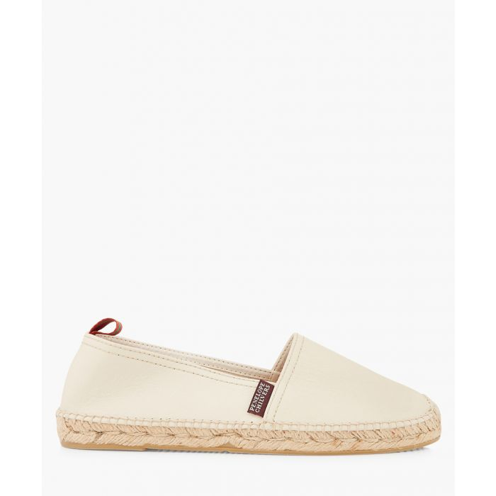 Image for Ivory leather flat espadrilles