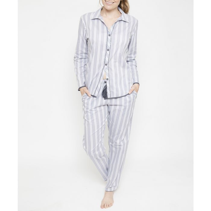 Image for Aspen grey cotton striped pyjama trousers
