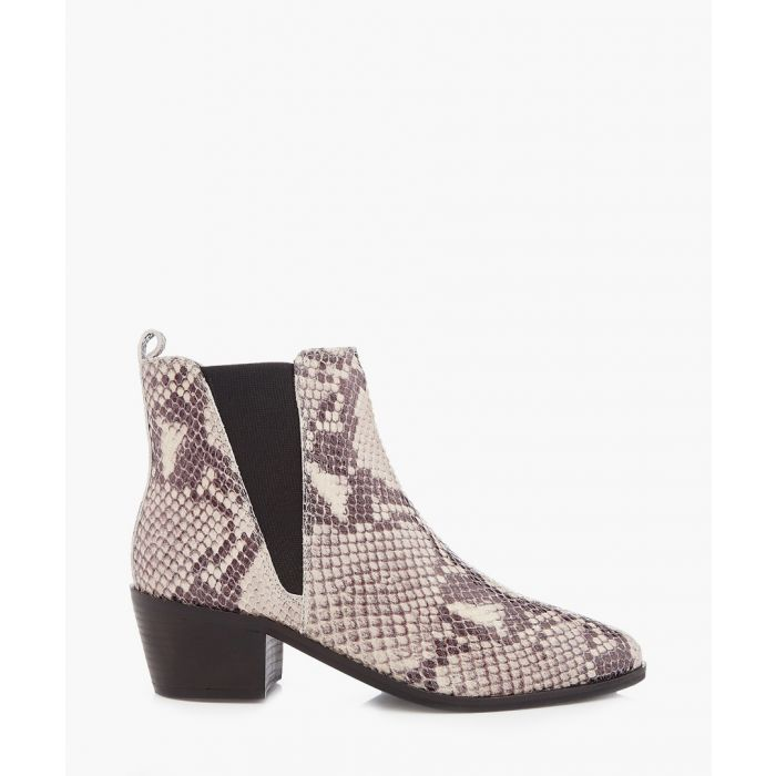 Image for Snake-effect heeled ankle boots