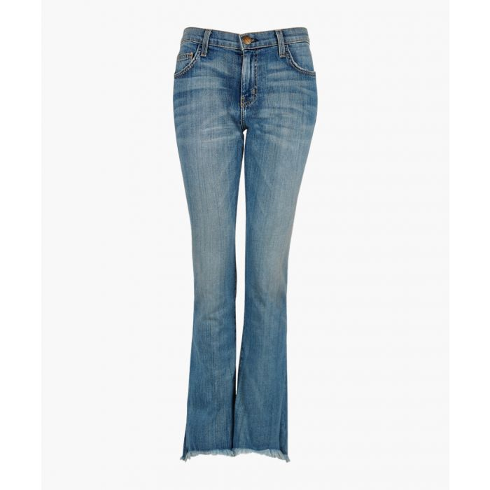 Image for The cropped mid-wash flared jeans