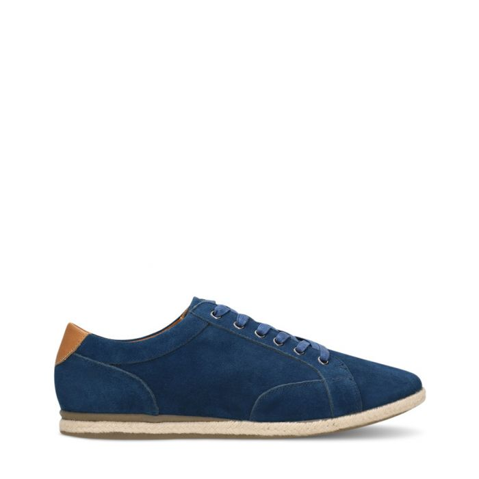 Image for Navy blue suede low top trainers