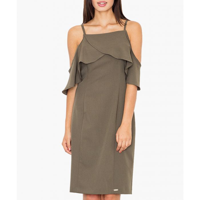 Image for Olive green cold-shoulder dress