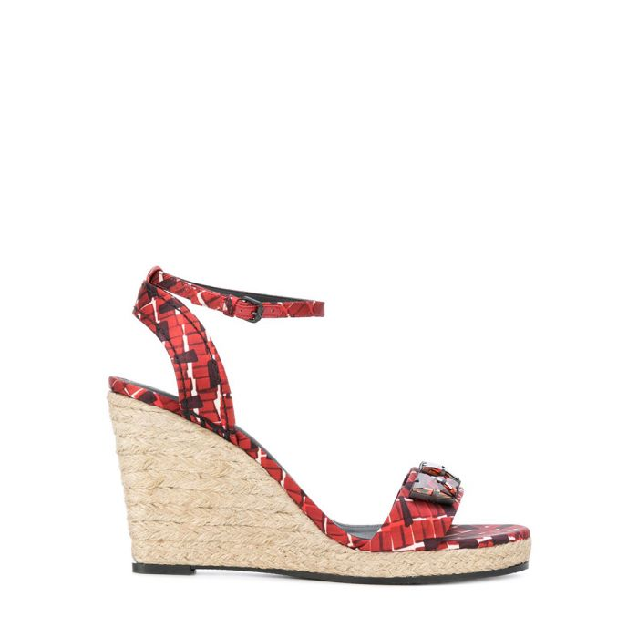 Image for Multi-coloured print silk and jute braided wedge espadrilles]