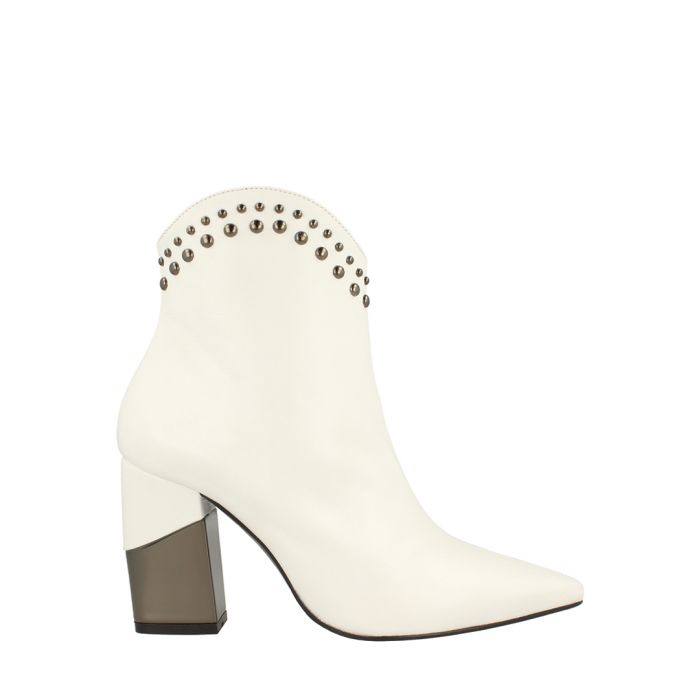 Image for White leather stud western ankle boots