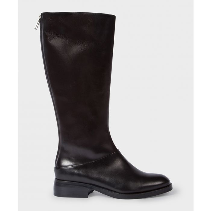 Image for Black leather zip-up boots