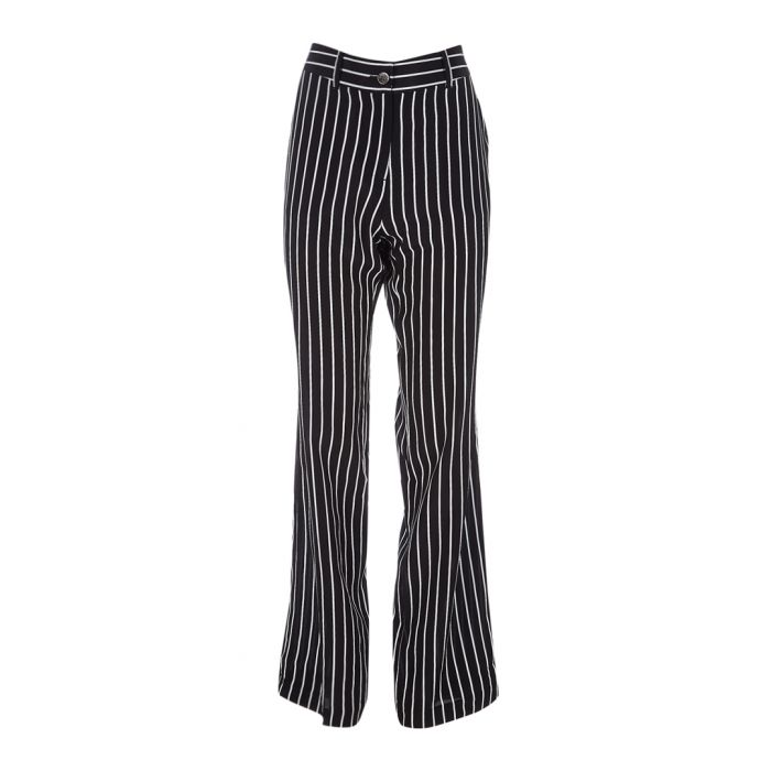 Image for Lita black pure silk pinstripe trousers