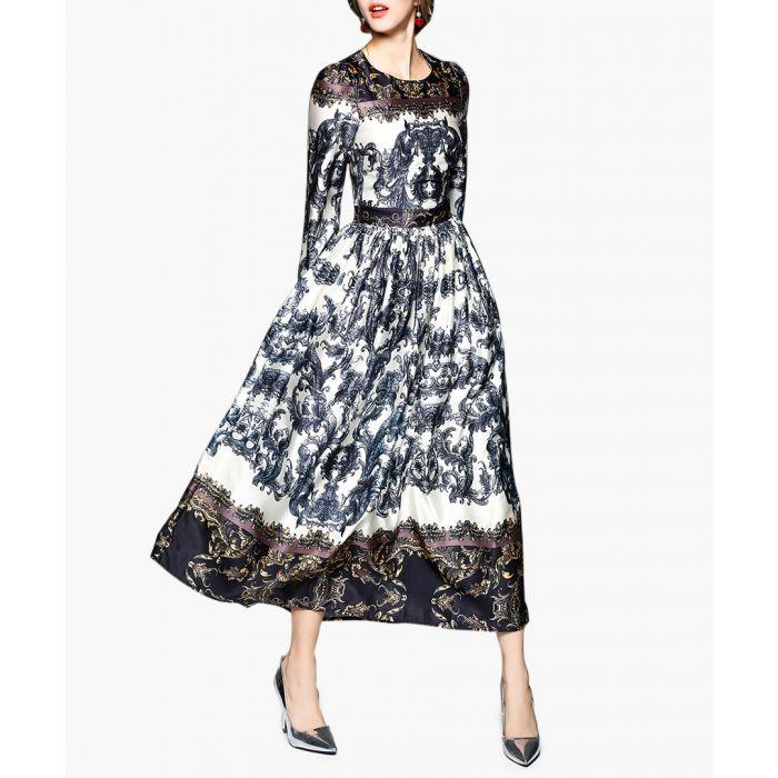 Image for Black & white print long sleeve dress