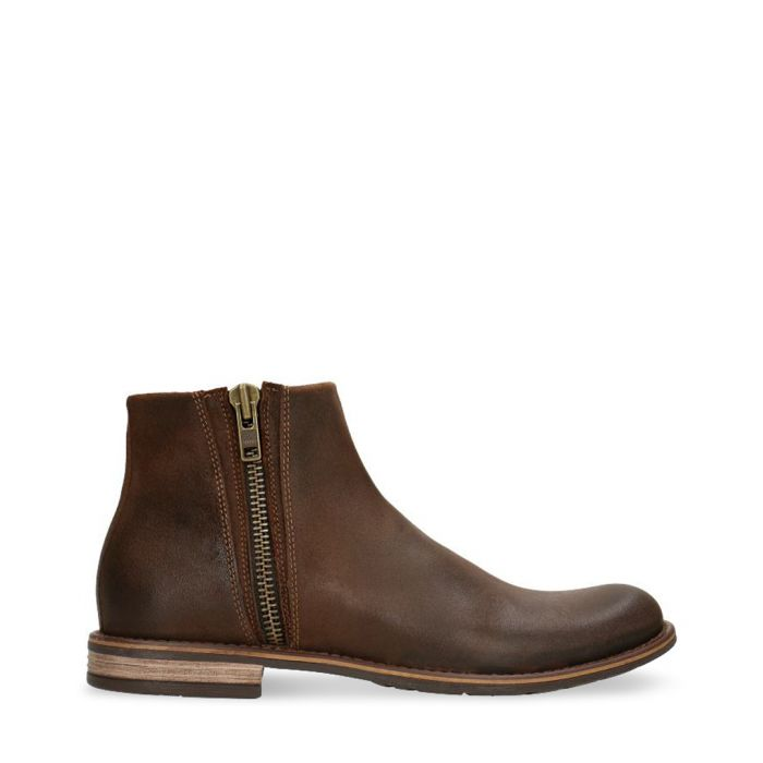 Image for Light brown leather zip-up ankle boots