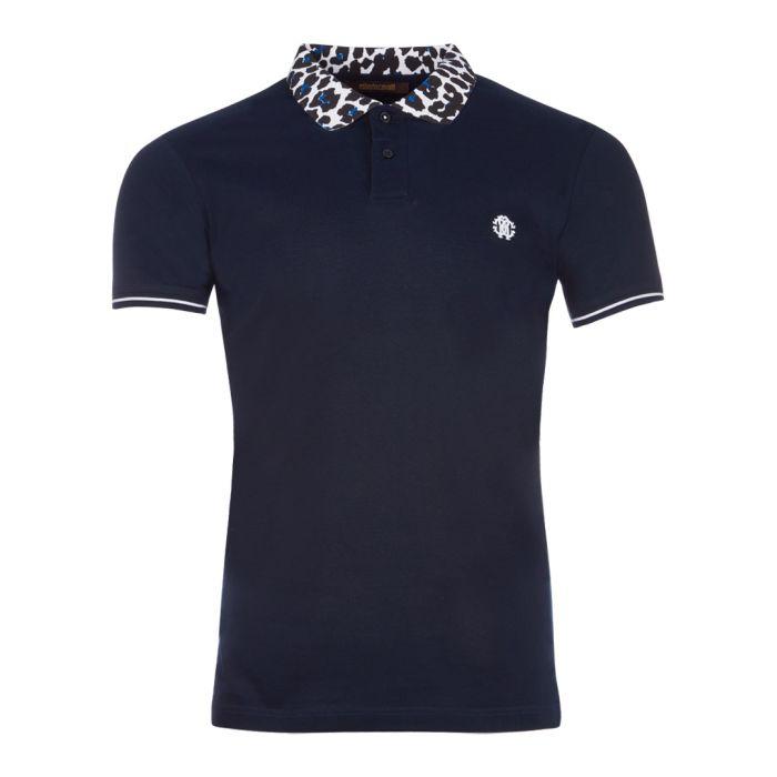 Image for Navy & animal print cotton polo shirt