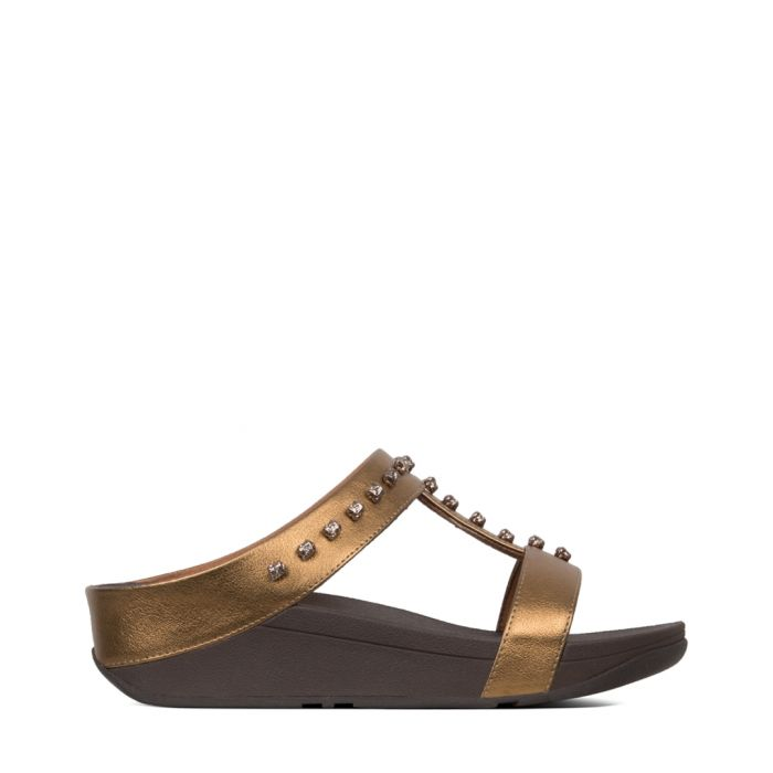 Image for Fino Treasure bronze-tone stud sandals