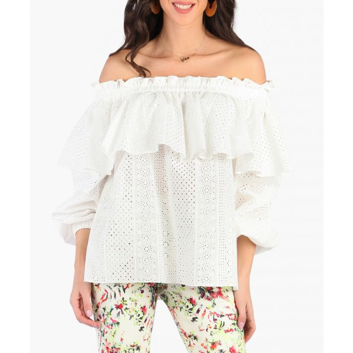 Image for White pure cotton off-shoulder blouse