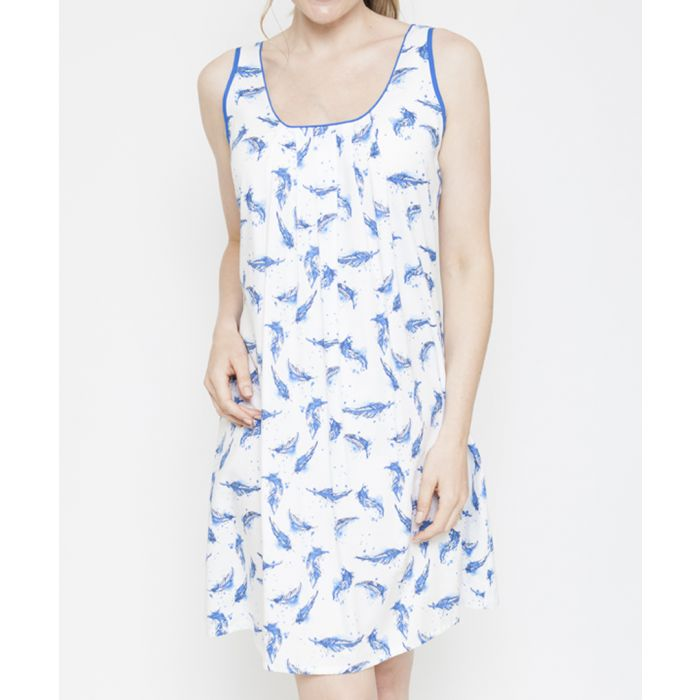 Image for Amelia blue feather printed chemise