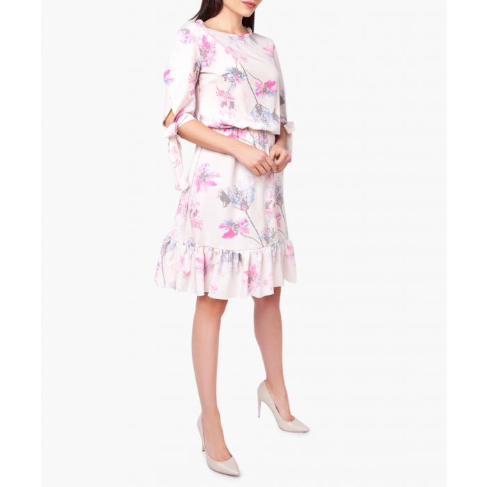Image for Pink & grey floral ruffle hem dress