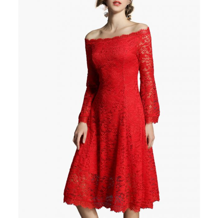 Image for Red off-the-shoulder lace midi dress
