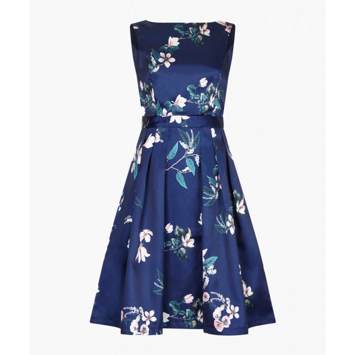 Image for navy floral sleeveless pleat dress
