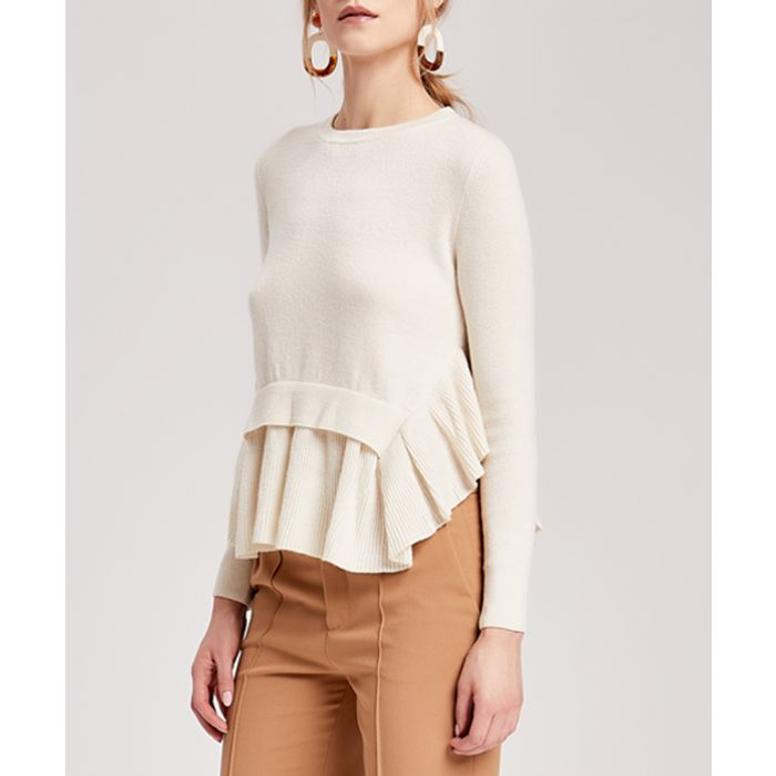 Image for White cashmere blend frilly jumper