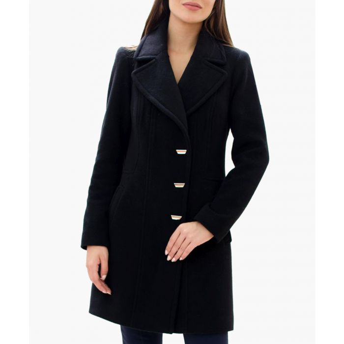Image for Black wool blend shaggy collar coat
