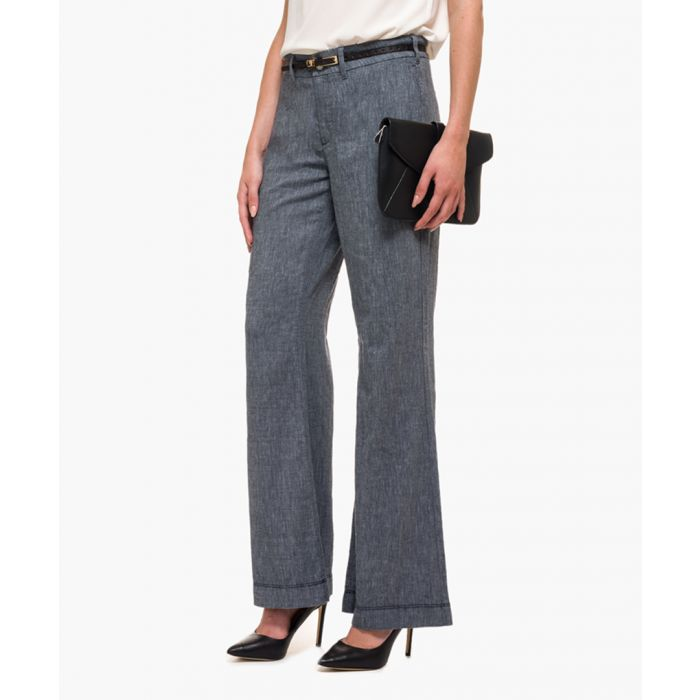 Image for Navy wide leg trousers