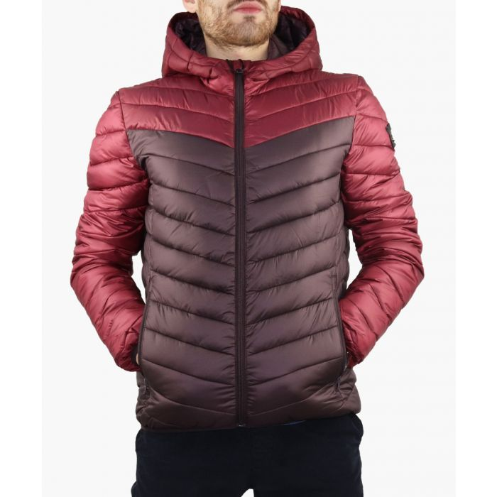 Image for Red colour-block quilted jacket