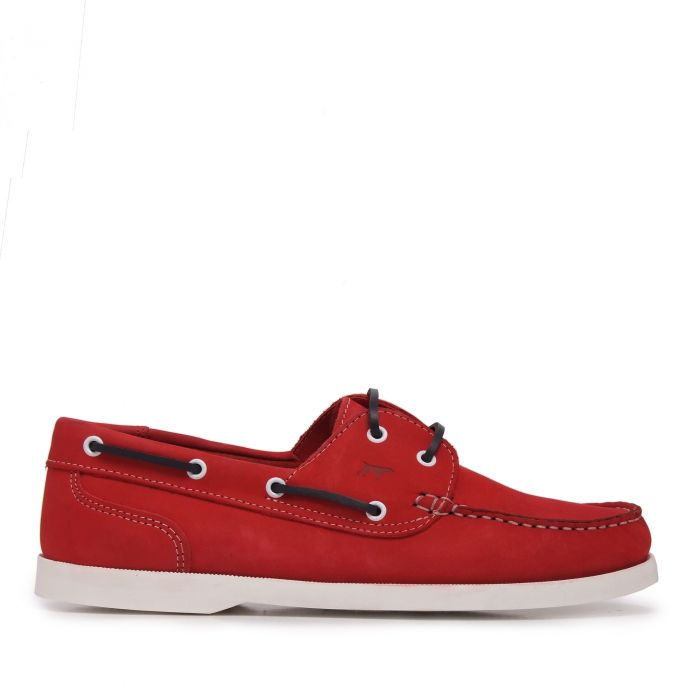 Image for Red leather boat shoes