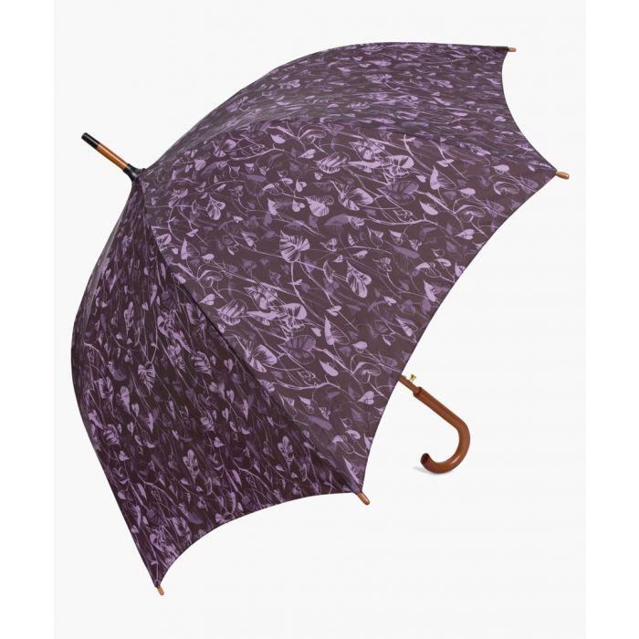 Image for Black and purple leaf printed umbrella