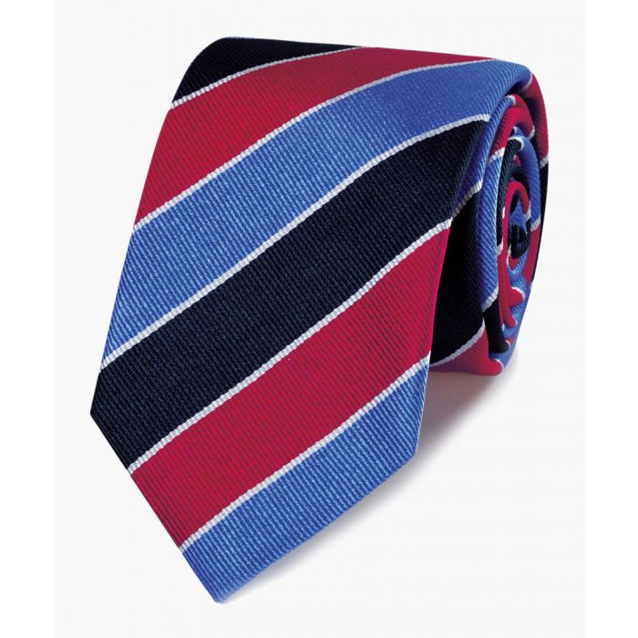 Image for Red and sky blue pure silk striped English luxury tie