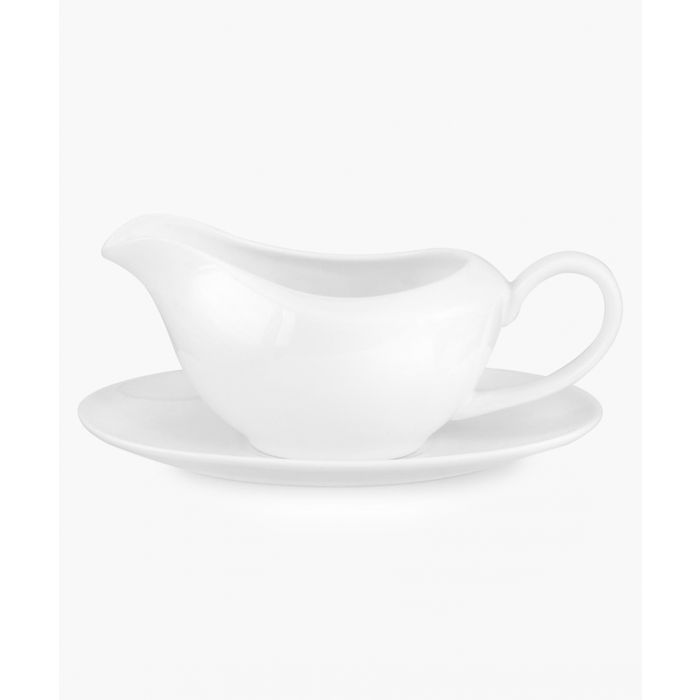 Image for Serendipity plain white bone china gravy boat and stand