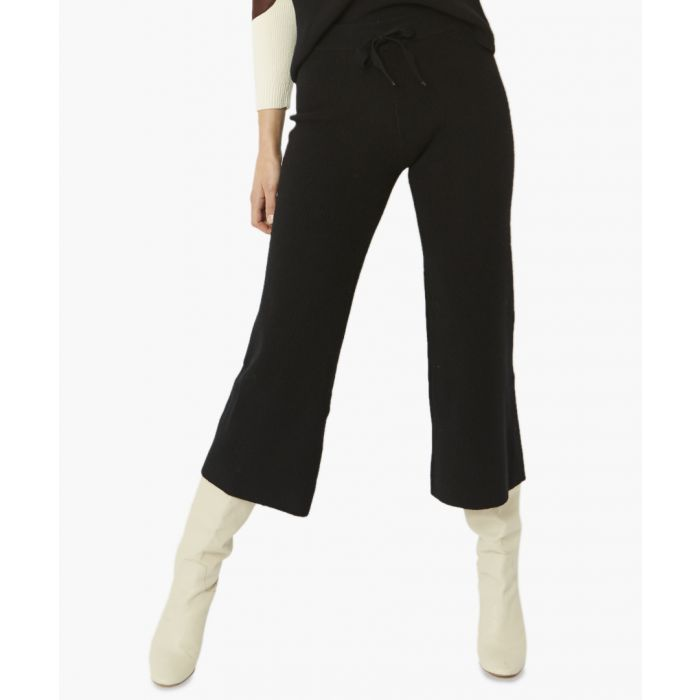 Image for Black wool blend knitted trousers