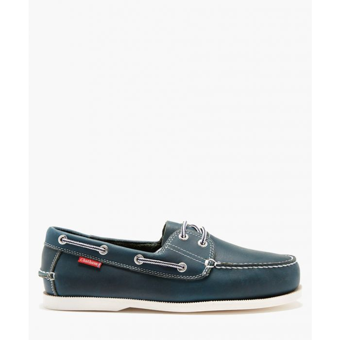 Image for Dominica navy leather deck shoes