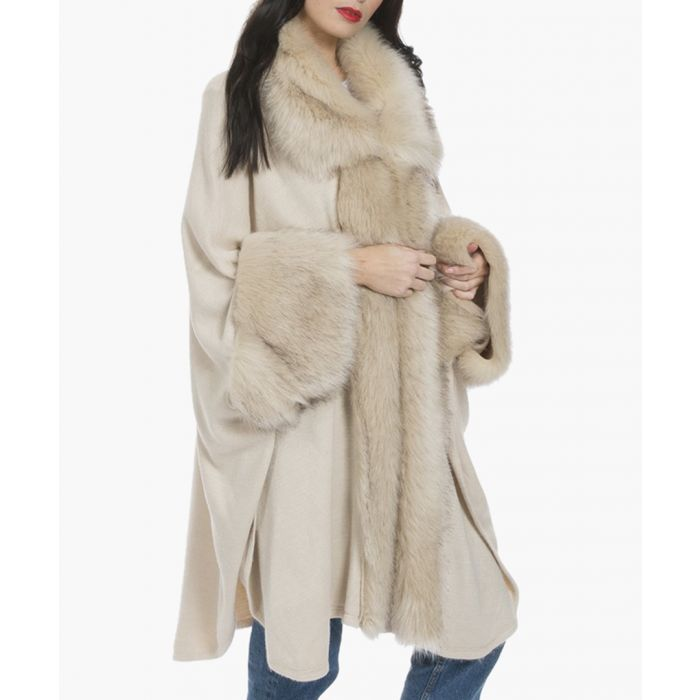 Image for White luxury faux fur fine knitted coat