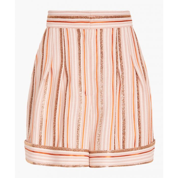 Image for Pink and gold-tone lurex striped shorts