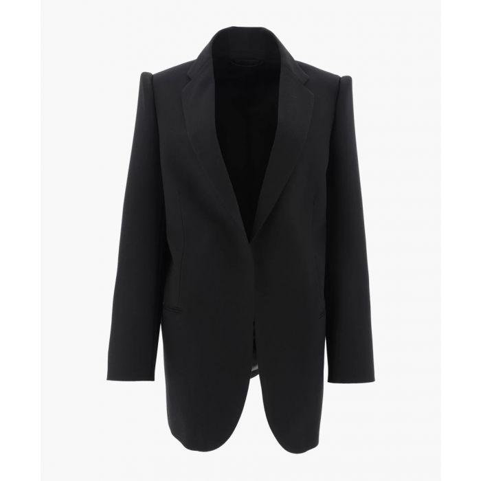 Image for Suspended Shoulder black wool jacket