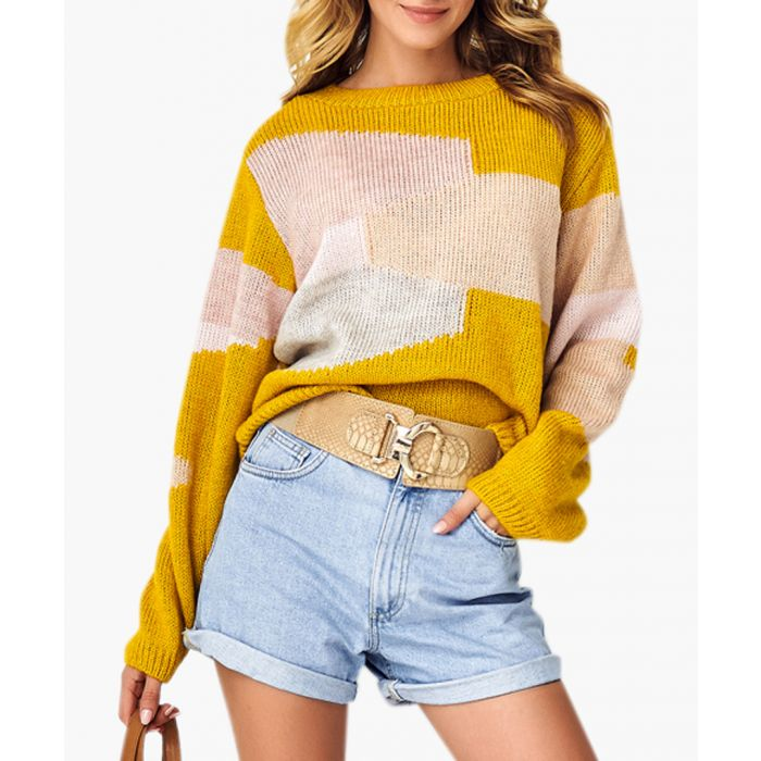 Image for Mustard and dirty pink wool blend jumper